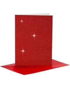 Kaarten en enveloppen, afmeting kaart 10,5x15 cm, afmeting envelop 11,5x16,5 cm, glitter, 110+250 gr, rood, 4 set/ 1 doos