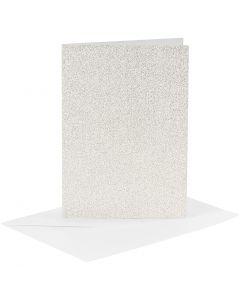 Kaarten en enveloppen, afmeting kaart 10,5x15 cm, afmeting envelop 11,5x16,5 cm, glitter, 120+250 gr, wit, 4 set/ 1 doos