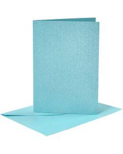 Kaarten en enveloppen, afmeting kaart 10,5x15 cm, afmeting envelop 11,5x16,5 cm, parelmoer, 120+210 gr, blauw, 4 set/ 1 doos