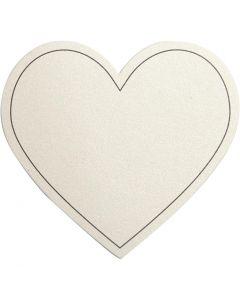 Harten, afm 75x69 mm, 120 gr, off-white, 10 stuk/ 1 doos
