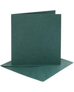 Kaarten en enveloppen, afmeting kaart 15,2x15,2 cm, afmeting envelop 16x16 cm, 230 gr, donkergroen, 4 set/ 1 doos
