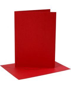 Kaarten en enveloppen, afmeting kaart 12,7x17,8 cm, afmeting envelop 13,3x18,5 cm, 230 gr, rood, 4 set/ 1 doos