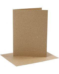 Kaarten en enveloppen, afmeting kaart 12,7x17,8 cm, afmeting envelop 13,3x18,5 cm, 230 gr, naturel, 4 set/ 1 doos