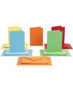 Kaarten en enveloppen, afmeting kaart 10,5x15 cm, afmeting envelop 11,5x16,5 cm, 110+220 gr, diverse kleuren, 50 set/ 1 doos