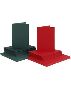 Kaarten en enveloppen, afmeting kaart 10,5x15 cm, afmeting envelop 11,5x16,5 cm, 110+230 gr, groen, rood, 50 set/ 1 doos