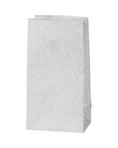 Papieren zakken, H: 17 cm, afm 6x9 cm, 120 gr, zilver, 8 stuk/ 1 doos