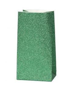 Papieren zakken, H: 17 cm, afm 6x9 cm, 150 gr, groen, 8 stuk/ 1 doos