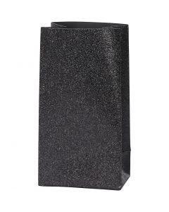 Papieren zakken, H: 17 cm, afm 6x9 cm, 170 gr, zwart, 8 stuk/ 1 doos