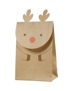 Papieren zakken, rendier, H: 18 cm, afm 6x12 cm, 80 gr, bruin, 6 stuk/ 1 doos
