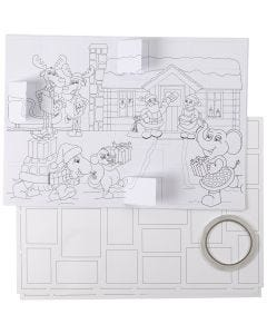 Kerstkalender, afm 30x42 cm, wit, 5 stuk/ 1 doos