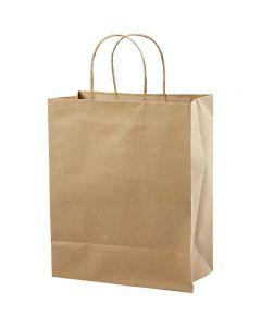 Papieren zakken, H: 33 cm, B: 26x13 cm, 125 gr, bruin, 10 stuk/ 1 doos