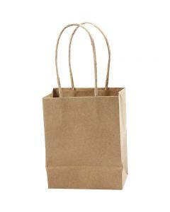 Papieren zakken, H: 17 cm, B: 12x7 cm, 125 gr, bruin, 10 stuk/ 1 doos