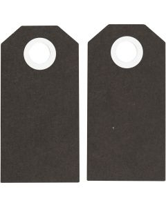 Cadeaulabels, afm 6x3 cm, 250 gr, zwart, 20 stuk/ 1 doos