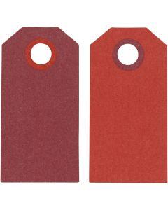 Cadeaulabels, afm 6x3 cm, 250 gr, wijnrood/rood, 20 stuk/ 1 doos