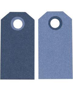 Cadeaulabels, afm 6x3 cm, 250 gr, donkerblauw/lichtblauw, 20 stuk/ 1 doos