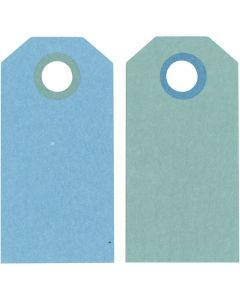Cadeaulabels, afm 6x3 cm, 250 gr, donkerturquoise/lichtturquoise, 20 stuk/ 1 doos