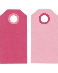 Cadeaulabels, afm 6x3 cm, 250 gr, roze, 20 stuk/ 1 doos