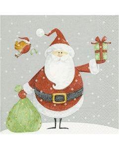 Servetten, kerstman met zak, afm 33x33 cm, 20 stuk/ 1 doos