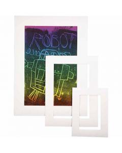 Passepartout lijsten, A3,A4,A5, dikte 0,4 mm, 270 gr, wit, 75 stuk/ 1 doos