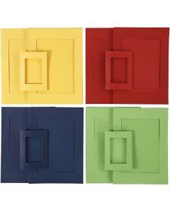 Passepartout lijsten, afm A4+A6 , blauw, groen, rood, geel, 2x60 stuk/ 1 doos