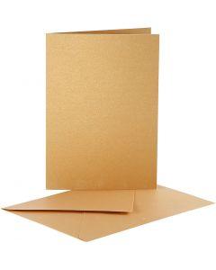 Parelmoer kaarten en enveloppen, afmeting kaart 10,5x15 cm, afmeting envelop 11,5x16,5 cm, goud, 10 set/ 1 doos