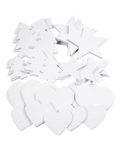 Uitgestanste vormen, afm 6-10 cm, 240 gr, wit, 300 stuk/ 1 doos