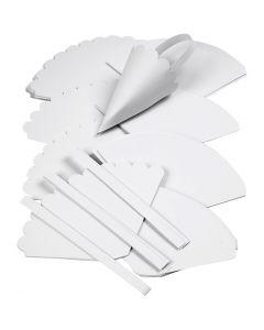 Uitgestanste kegels, H: 13 cm, d: 8 cm, wit, 240 stuk/ 1 doos