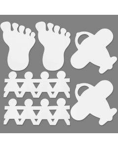 Voeten, meisjes en vliegtuigen, afm 12-27 cm, wit, 96 stuk/ 1 doos