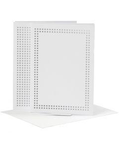 Kaarten om te borduren, afmeting kaart 10,5x15 cm, afmeting envelop 11,5x16,5 cm, wit, 6 stuk/ 1 doos
