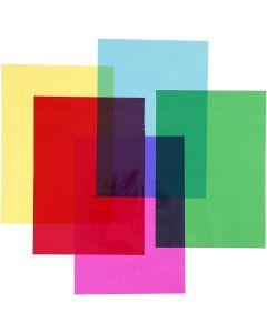 Cellofaan, 210x297 mm, diverse kleuren, 5x20 vel/ 1 doos