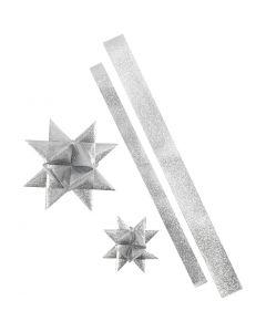 Sterstroken, L: 86+100 cm, d: 11,5+18,5 cm, B: 25+40 mm, glitter zilver, 16 stroken/ 1 doos