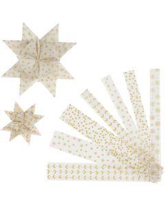 Papieren vlechtstroken, L: 44+78 cm, d: 6,5+11,5 cm, B: 15+25 mm, goud, wit, 48 stroken/ 1 doos