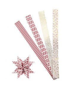Papieren vlechtstroken, L: 100 cm, d: 18 cm, B: 40 mm, goud, rood, wit, 40 stroken/ 1 doos