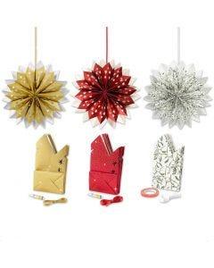 Ster van papieren zakken, goud, groen, rood, wit, 3x10 doos/ 1 doos