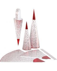 Kegels, H: 18+28 cm, 120 gr, rood, wit, 3 stuk/ 1 doos