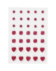 Strasstenen, rond, vierkant, hart, afm 6+8+10 mm, roze, 35 stuk/ 1 doos