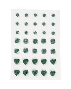 Strasstenen, rond, vierkant, hart, afm 6+8+10 mm, groen, 35 stuk/ 1 doos