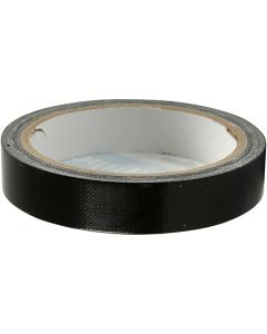 Canvas tape, B: 19 mm, zwart, 25 m/ 1 rol