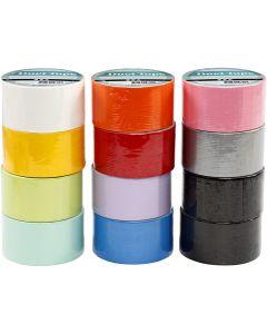 Duck tape, B: 48 mm, diverse kleuren, 12x5 m/ 1 doos