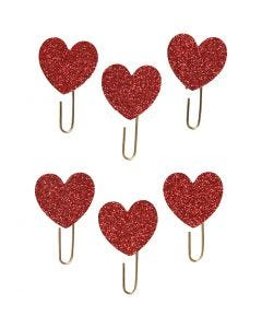 Paperclips, hart, d: 30 mm, rood glitter, 6 stuk/ 1 doos
