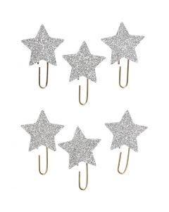 Paperclips, ster, d: 30 mm, glitter zilver, 6 stuk/ 1 doos