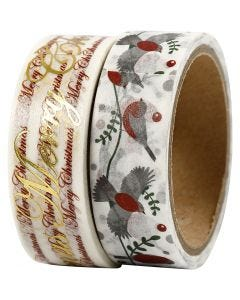 Masking Tape, Merry Christmas en vogels - folie, B: 15 mm, 2x4 m/ 1 doos