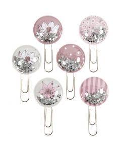 Shaker clips, L: 49 mm, d: 25 mm, beige, bruin, roze, wit, 6 stuk/ 1 doos