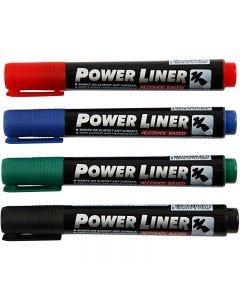 Power Liner, zwart, blauw, groen, rood, 4 stuk/ 1 doos