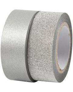 Masking tape, B: 15 mm, zilver, 2 rol/ 1 doos