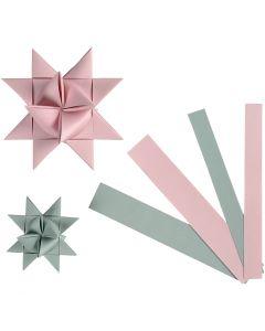 Papieren vlechtstroken, B: 15+25 mm, d: 6,5+11,5 cm, 60 stroken/ 1 doos
