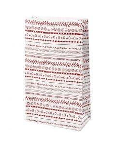 Papieren zakken, doodles, H: 21 cm, afm 6x12 cm, 8 stuk/ 1 doos