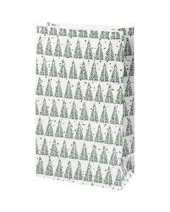 Papieren zakken, denneboom, H: 21 cm, afm 6x12 cm, 8 stuk/ 1 doos