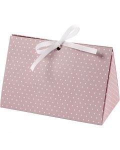 Cadeaudoos, stippen, afm 15x7x8 cm, 250 gr, roze, wit, 3 stuk/ 1 doos
