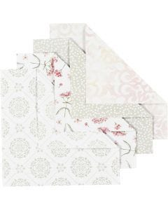Origamipapier, afm 15x15 cm, 80 gr, groen, grijs, lichtrood, wit, 40 vel/ 1 doos